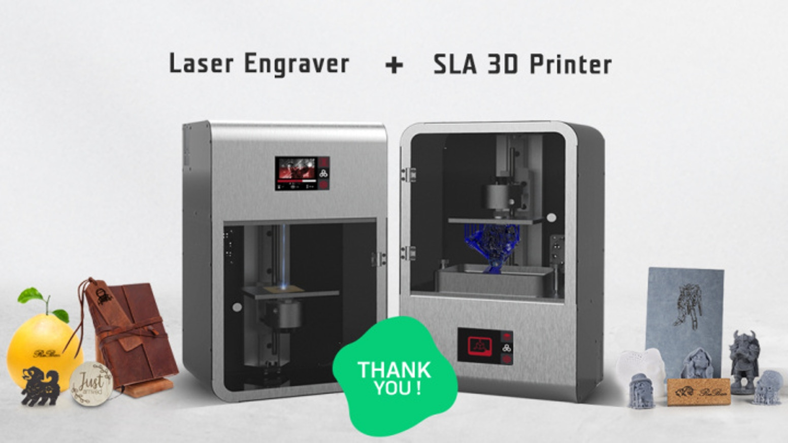 High precision, fast and versatility. Rubanmaster is a 3-in-1 SLA 3D printer, laser engraver and cutter to make creation come to life.
