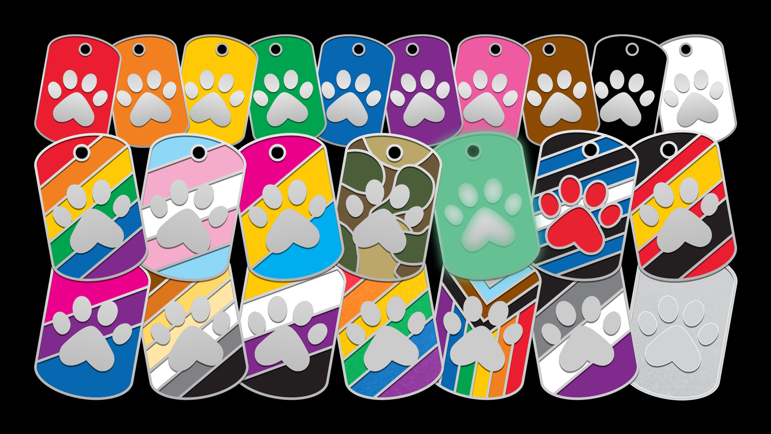 Awesome enamel dog tags keyring for LGBT+ people, pups and other pets to wear!