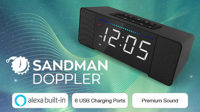 Amazon Alexa built-in, 6 USB charging ports, and premium sound all in a smart alarm clock. Meet the Sandman Doppler, the alarm clock evolved! Pre-order now!