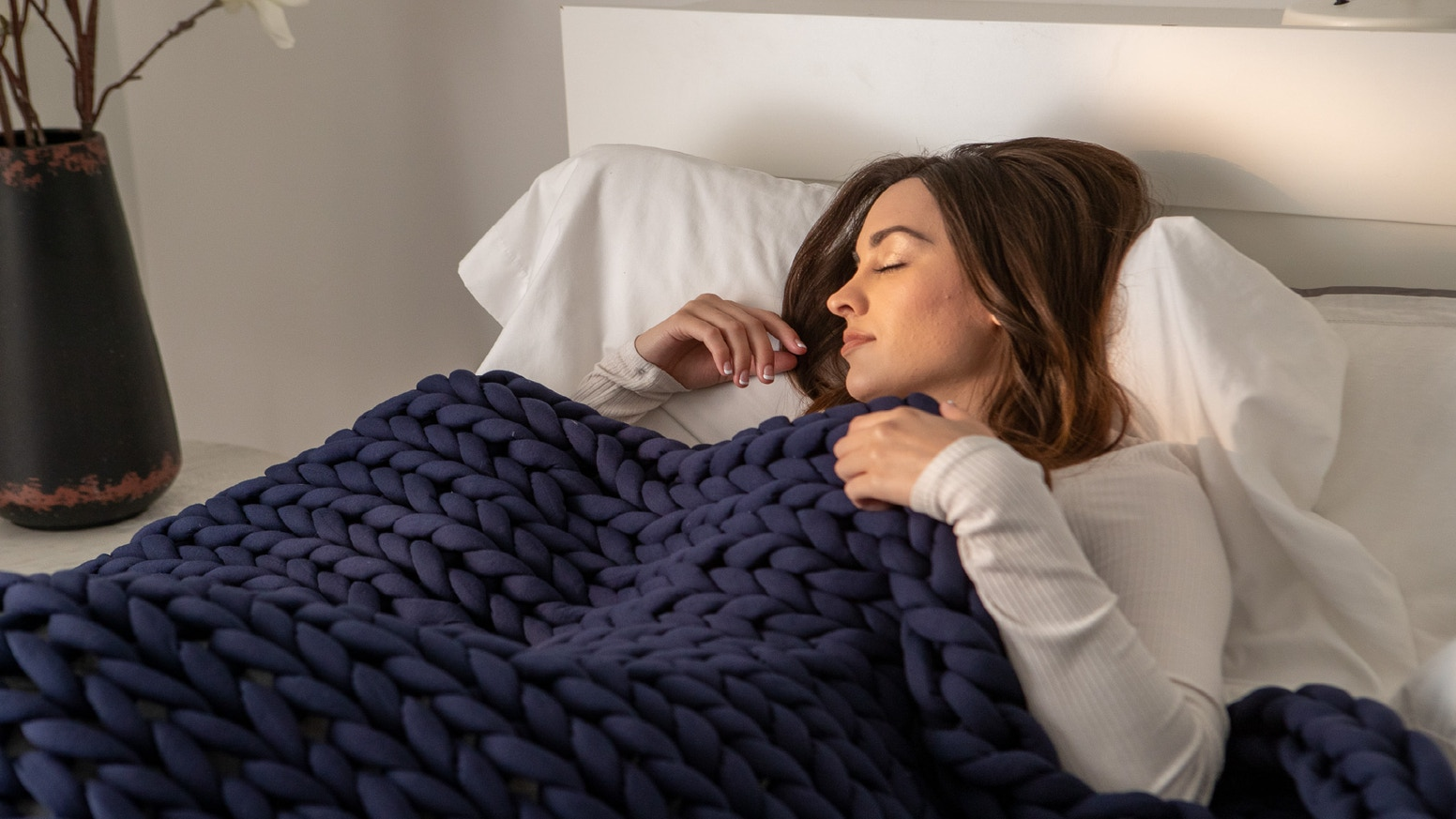 Fall asleep faster and stay asleep longer - no overheating or leaking beads with our beautifully hand knitted beadless Nuzzie Knit