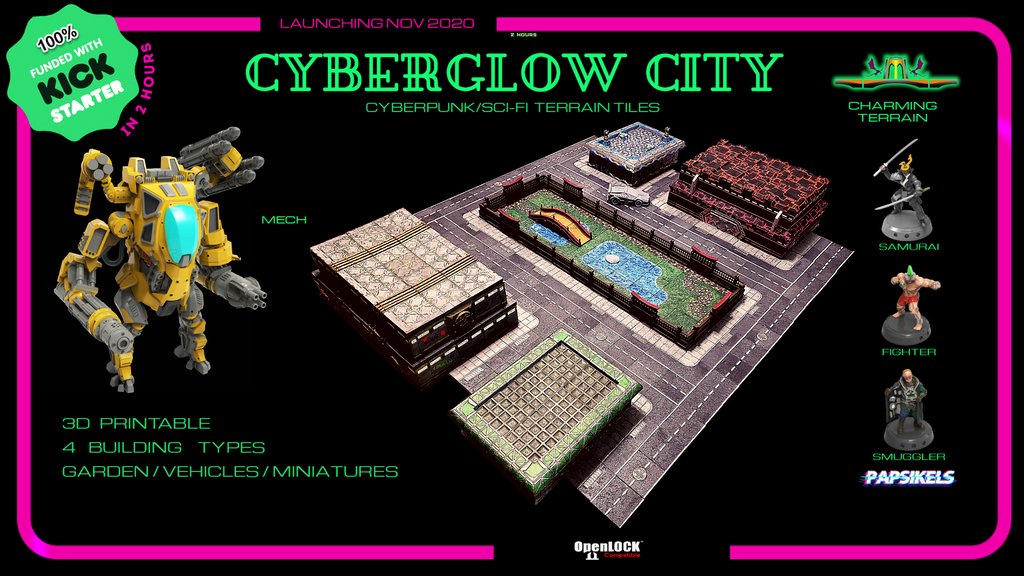 CYBERGLOW CITY - Cyberpunk & Sci-fi 3D printable STL Terrain