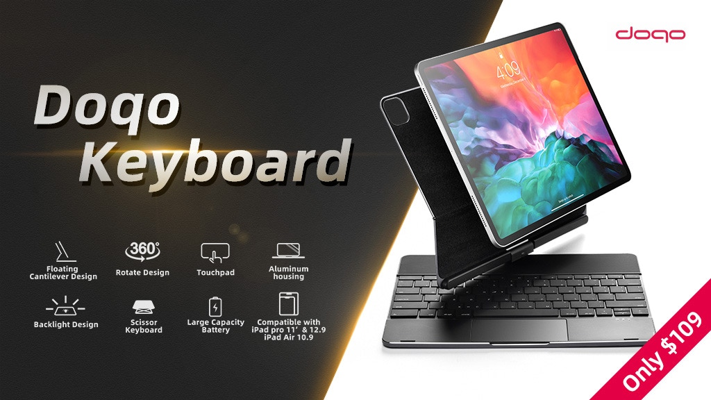 Doqo Smart Keyboard & Protective Case for Your iPad