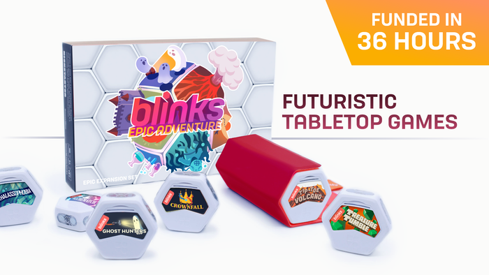 A futuristic Indie tabletop gaming experience. 9 reissued Blinks games and 6 brand new games featuring Tip-Toe Volcano by Big Potato.