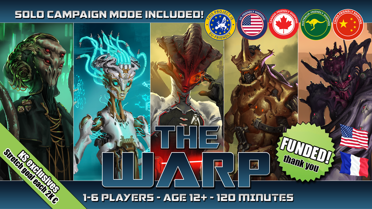 The Warp is a fast-paced Sci-Fi 4X (explore, expand, exploit, exterminate) board game for 1 to 6 players.