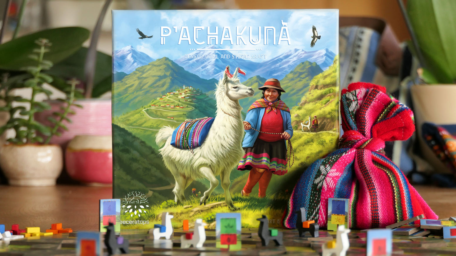 Strategic 2 player game with a unique, modular board – Original Bolivian bags included.