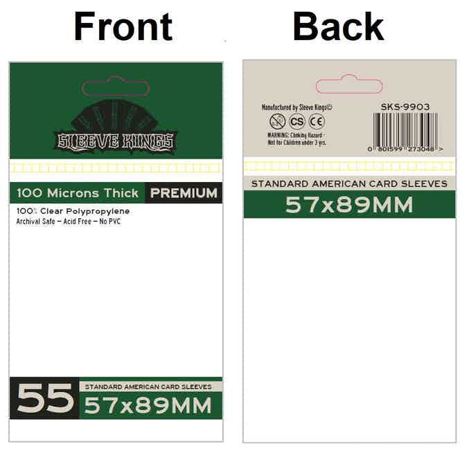 """Standard USA"" Card Sleeves (57 X 89 MM Cards)"