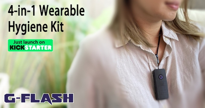 G-FLASH : The world's first 4 IN 1 WEARABLE HYGIENE KIT