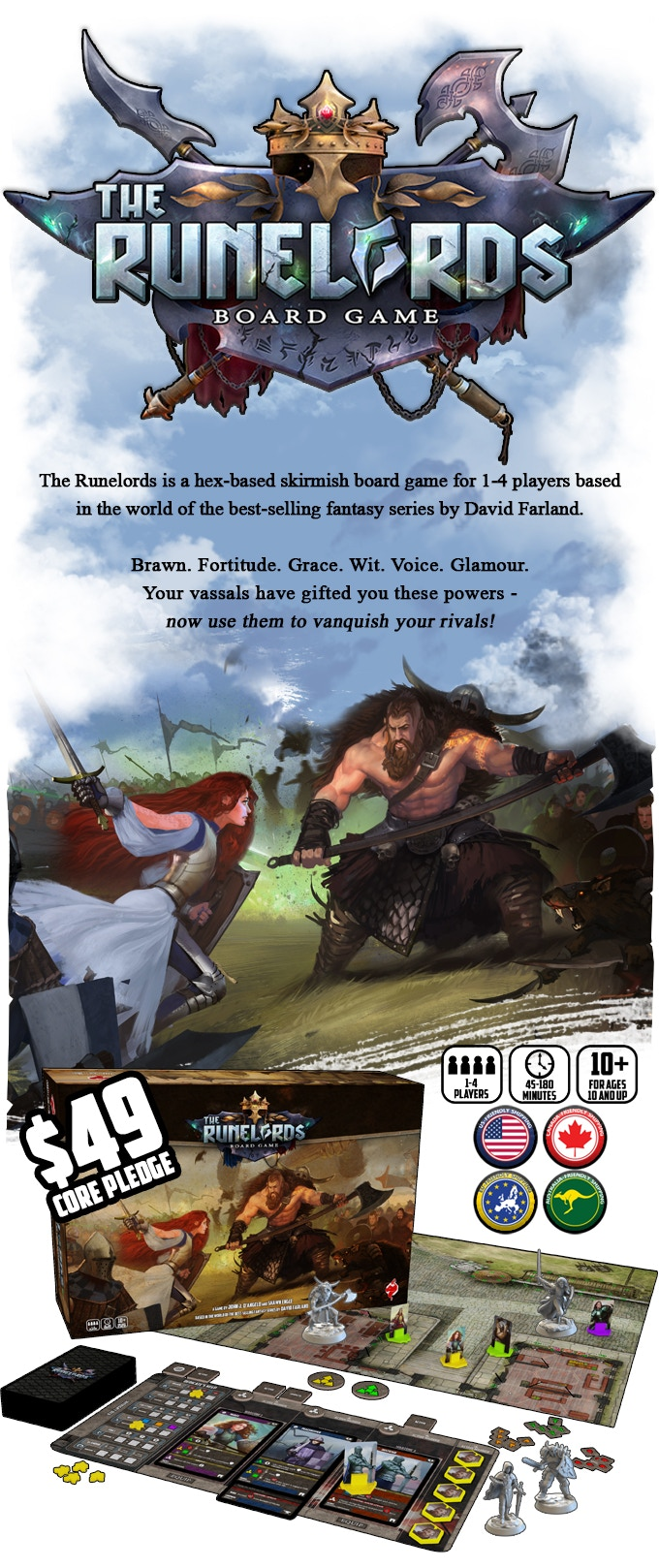 The Runelords set up example with box and $49 core set pledge