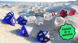 Sea Glass Dice - Frosted Glass Dice Sets for RPG Gaming thumbnail
