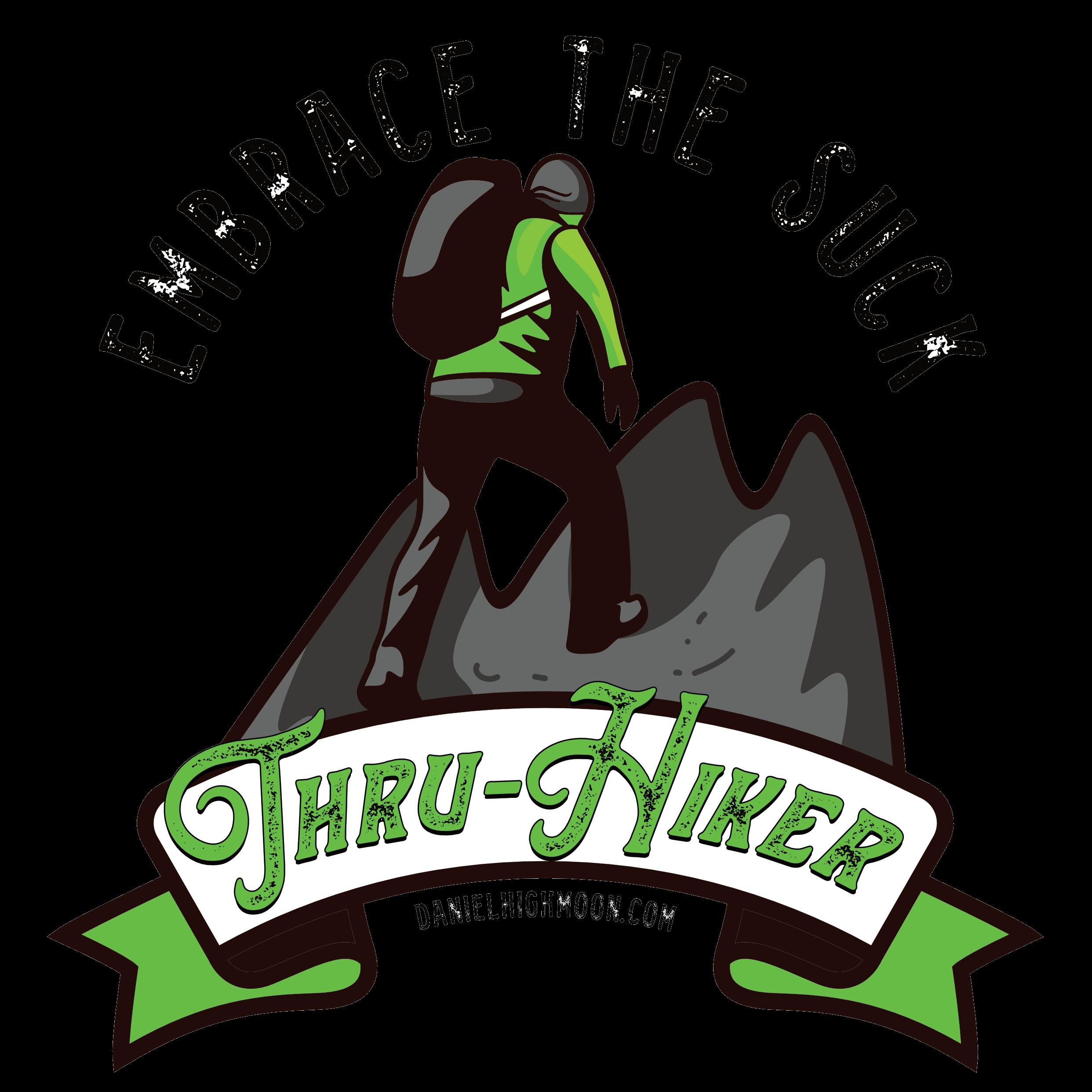 """THRU-HIKER """"Embrace The Suck"""" promotional sticker artwork"""