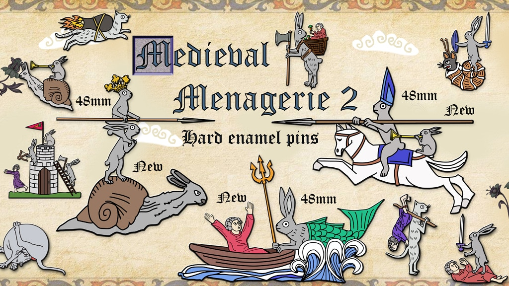 Medieval Menagerie 2 hard enamel pin badges