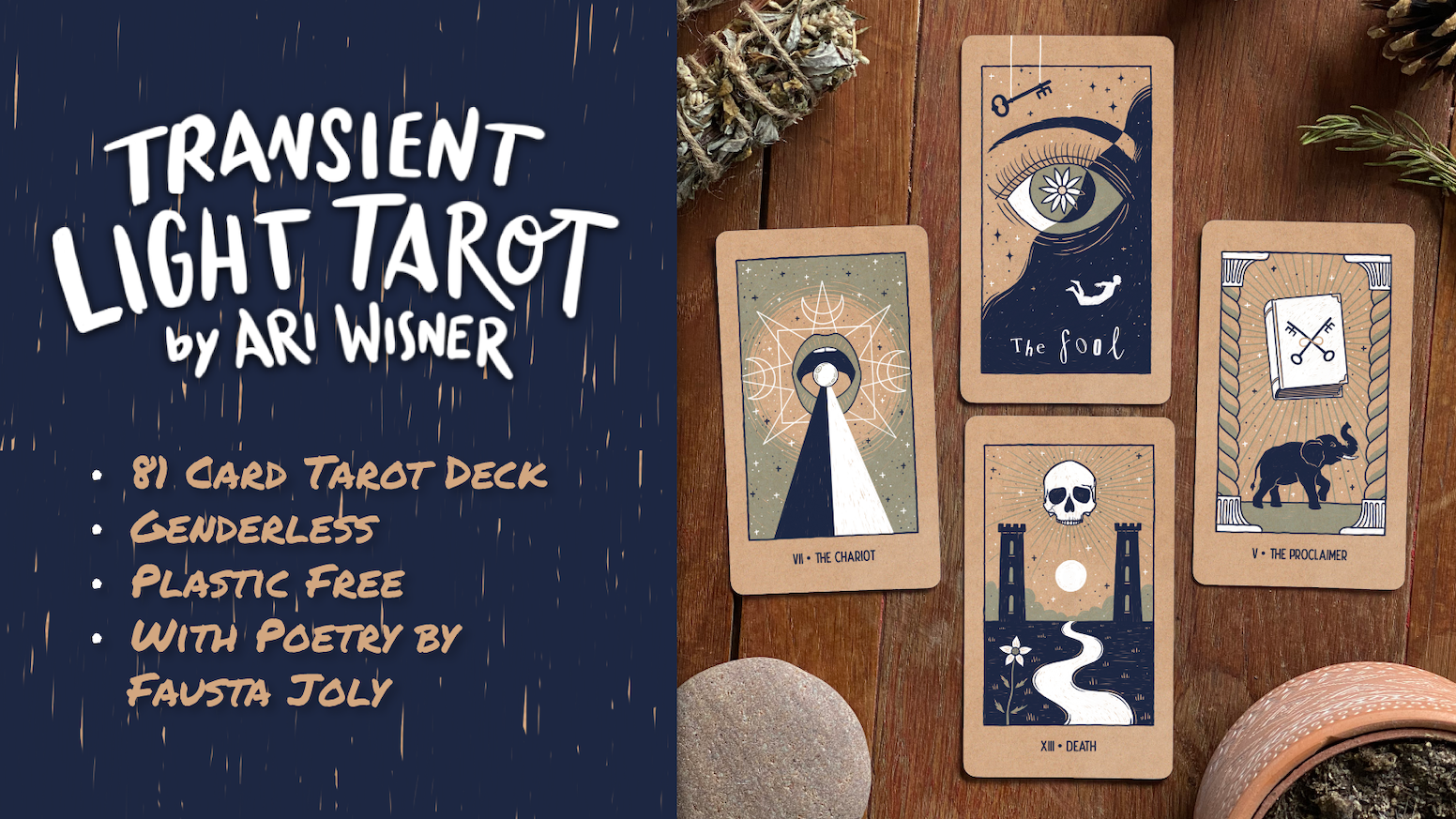 Transient Light Tarot is a plastic-free, genderless indie tarot deck illustrated by the creator of the Trinity Tarot, Ari Wisner @ari_wisner