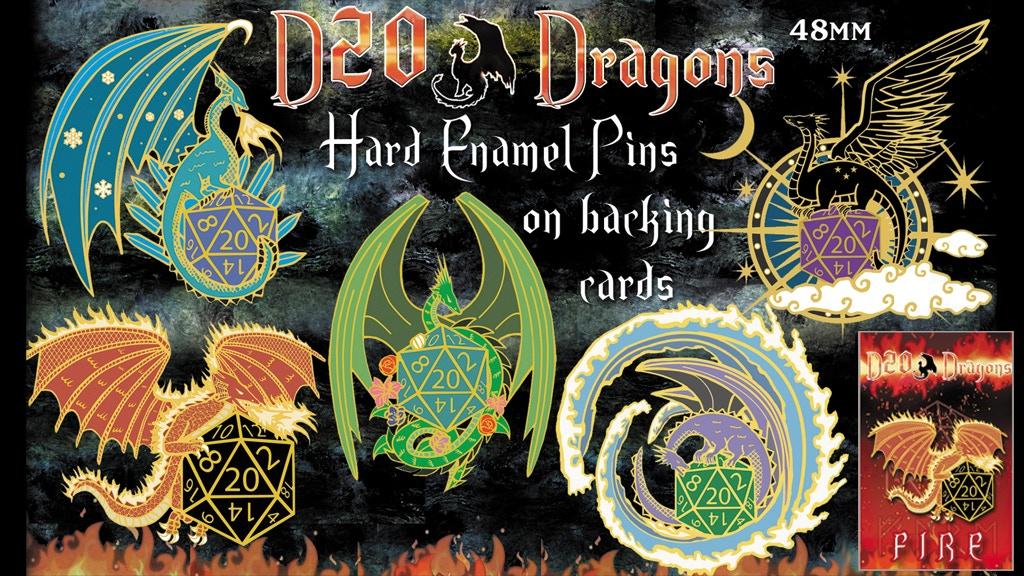 RPG D20 Dragon hard enamel pins on backing cards