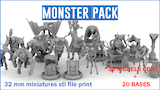 MONSTERS PACK stl files Boardgames miniatures. thumbnail