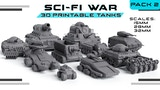Sci-Fi War 3D Printable Tanks Pack 2 thumbnail
