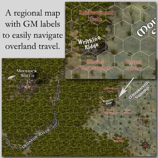 Regional Map sample with GM labels to easily navigate overland travel.