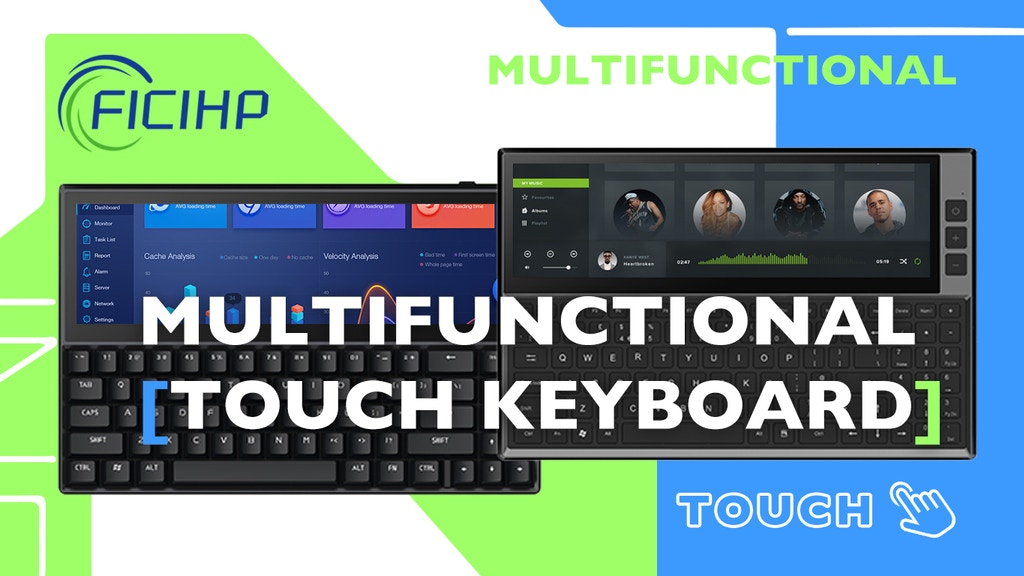 FICIHP Multifunctional Keyboard with 12.6 inches Touchscreen
