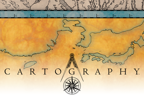 Cartography: A map-making, territory claiming, strategy game. 2 players, ages 10 and up. Adjustable play time starting at 15.