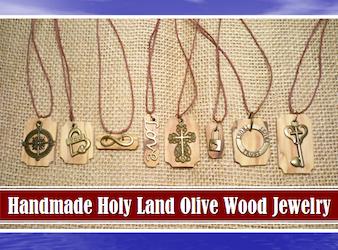 Handmade Holy Land Olive Wood Necklaces