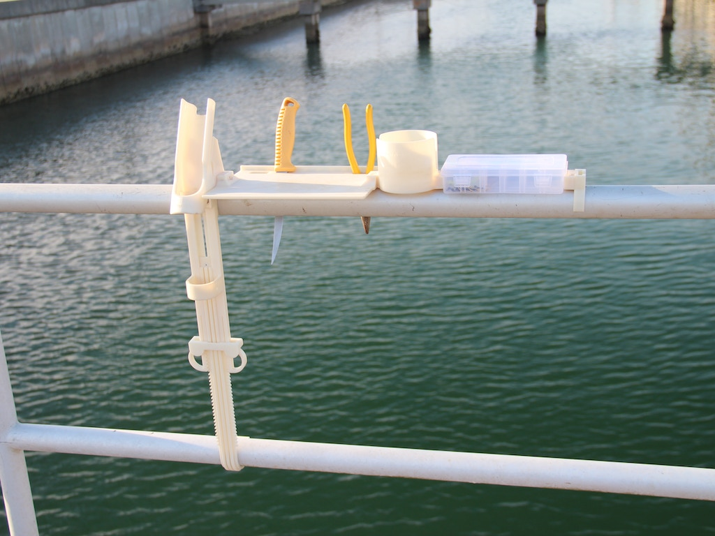 Pier pal pier fishing pole holder with accessories by si for Pier fishing rod holder