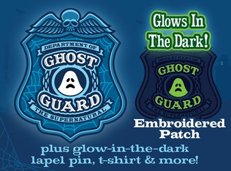 """""""Ghost Guard"""" Glow-in-the-Dark Patch, Lapel Pin, T-Shirt"""