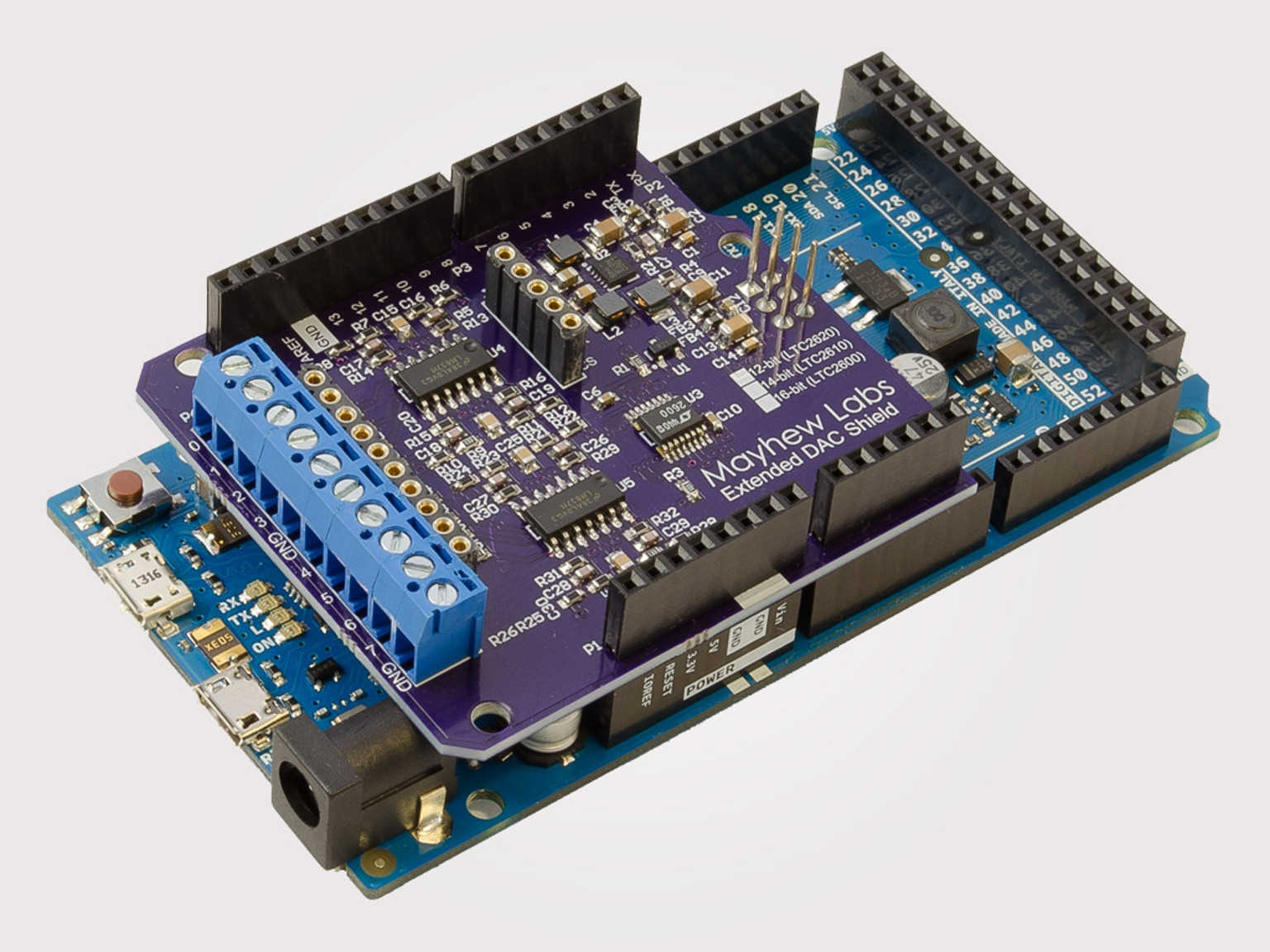 Extended dac shield for arduino eight ± v analog