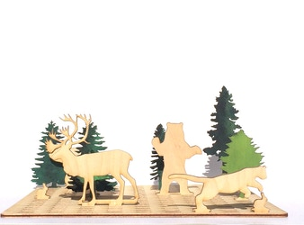 SNAP SCENES - Laser cut animal wood toy set