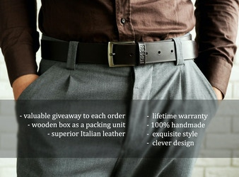 REMEN: Handmade Lifetime Guaranteed Leather Belt.