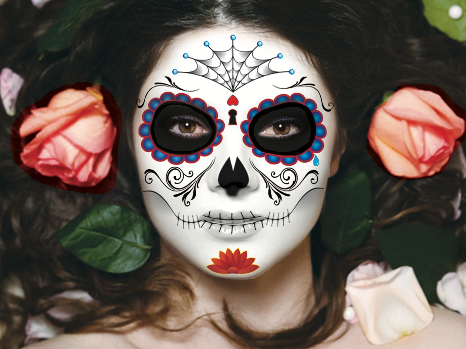 Sugar skull temporary tattoos for halloween day of the for Halloween makeup tattoos