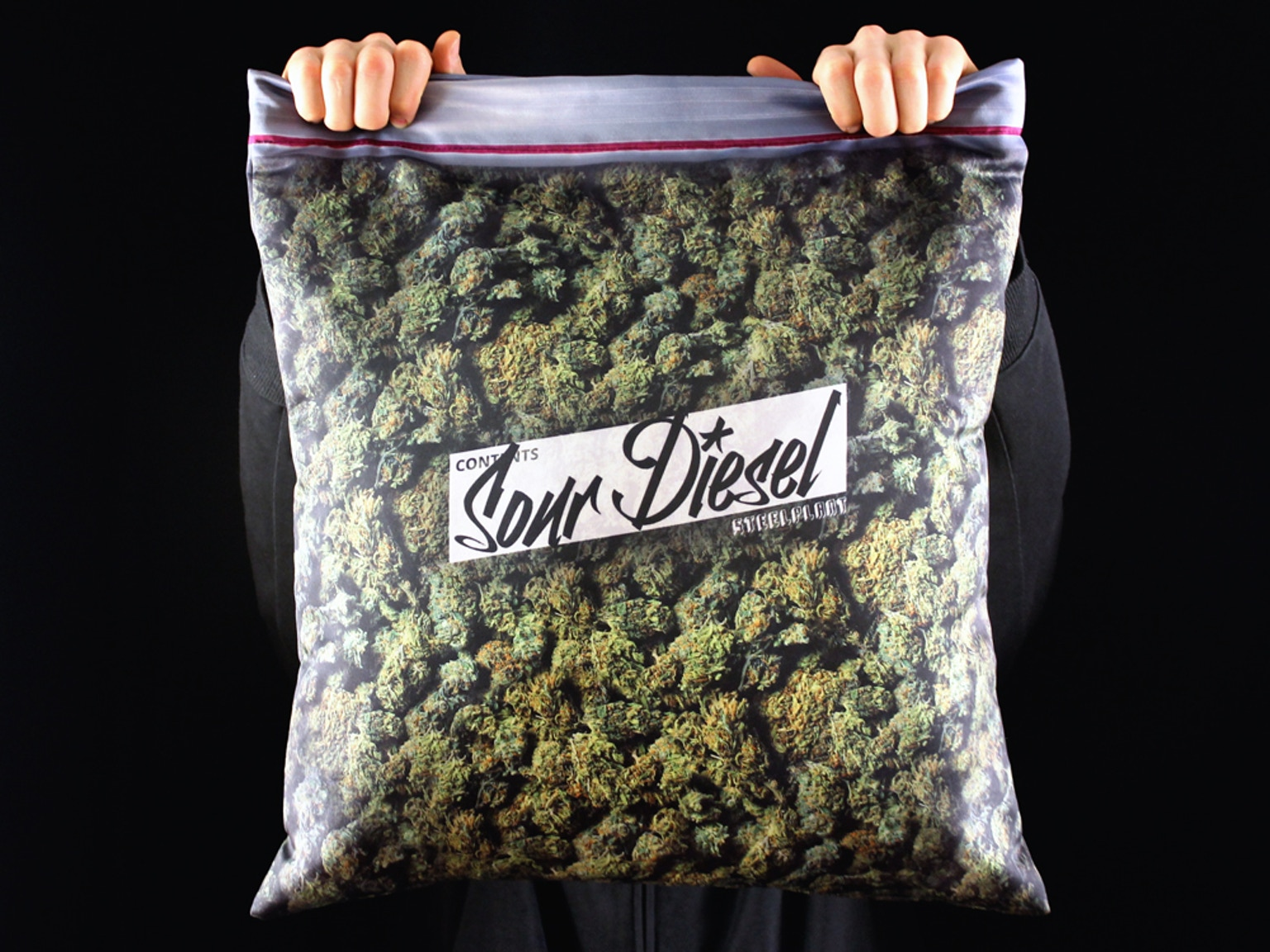 giant stash pillowcase plus size ziplock of cannabis by